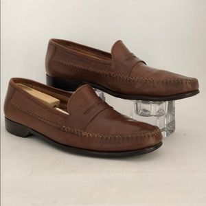 BOSTONIAN Men's Brown Leather Loafers Size 12W